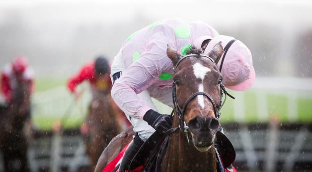 Bouvreuil and Sam Twiston-Davies (left) jump the final fence alongside odds-on favourite Vyta Du Roc before going on to land the beginners chase at Doncaster. The length-and-a-half victory for Bouvreuil (7/2) was the first leg of a 15/1 treble for Paul Nicholls and Twiston-Davies as they also teamed up to claim the novice hurdle with 1/4 hotpot Le Prezien, while 15/8 second favourite Baoulet Delaroque captured the first division of the maiden hurdle (Patrick McCann/Racing Post)