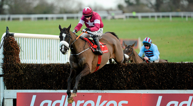 Don Cossack and Bryan Cooper clear the last in the Kinloch Brae Chase (SPORTSFILE)