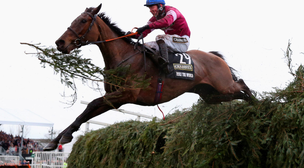 Rule The World jumps the last fence with David Mullins on the way to victory in the Grand National