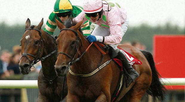 Blazing Tempo and jockey Paul Townend (right) at Galway in 2011