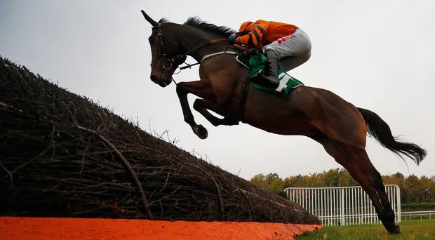Tom Scudamore riding Thistlecrack on their way to winning the Novices' Steeplechase at Chepstow