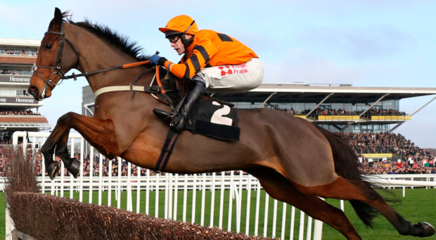 Thistlecrack and Tom Scudamore winning the bet365 Novices' Steeple Chase at Newbury yesterday