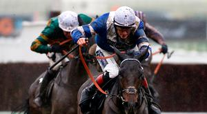 Sam Twiston-Davies brings Frodon home to win the 2016 Caspian Caviar Gold Cup at Cheltenham.