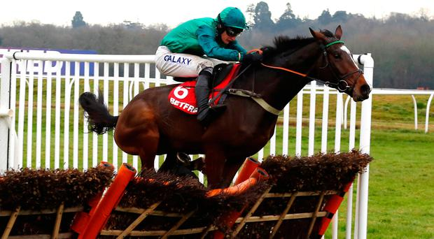 Messire Des Obeaux and Daryl Jacob go on to win The Betfred Challow Novices' Hurdle