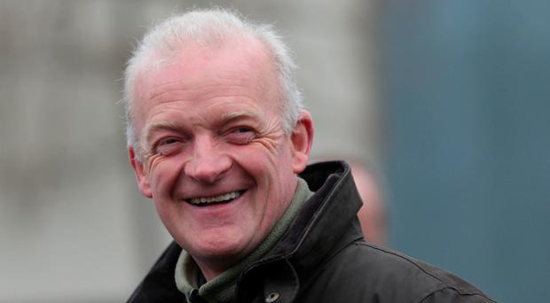 Trainer Willie Mullins took the Cashel Rated Novice Hurdle, with Livelovelaugh. Photo: PA