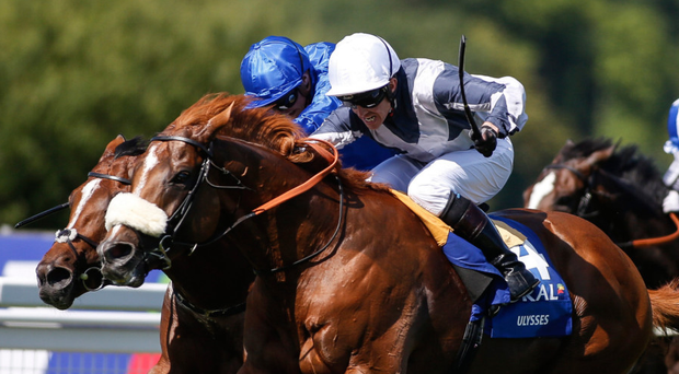 Jim Crowley riding Ulysses win The Coral-Eclipse from Barney Roy and James Doyle. Photo: Getty