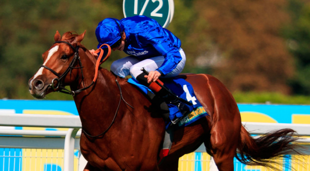 Masar, ridden by James Doyle, comes home to win The BetBright Solario Stakes at Sandown Photo: PA