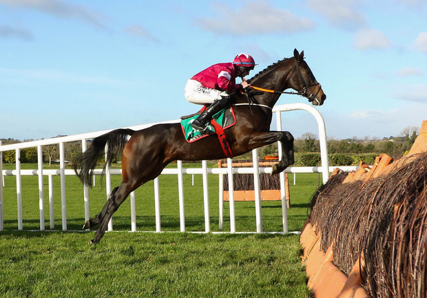 Apple's Jade, with Jack Kennedy up, on the way to winning The Lismullen Hurdle at Navan yesterday Pic: Alain Barr