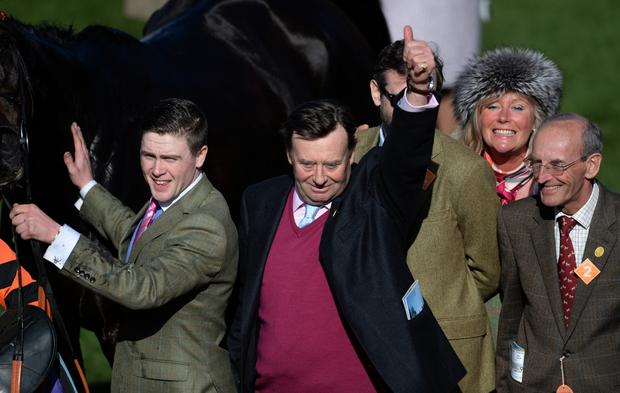 Nicky Henderson shows his delight after Might Bite's dramatic victory in the RSA Chase at Cheltenham earlier this year. Photo: Getty Images