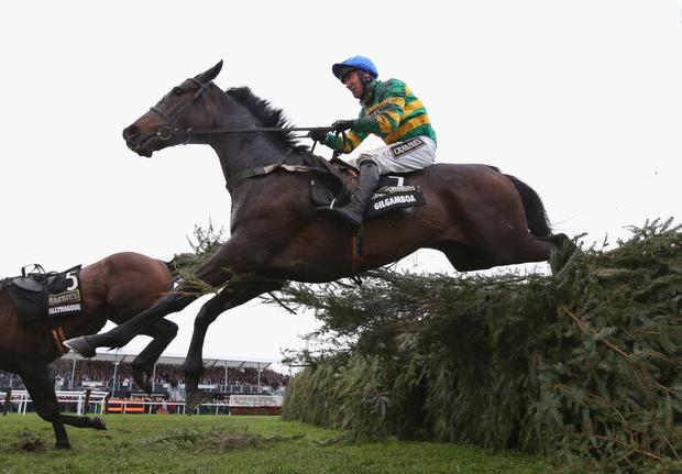 Gilgamboa jumps the last on the way to finishing fourth under Robbie Power in the 2016 Aintree Grand National and he is aiming to get back to his best at Down Royal today with Nina Carberry aboard Photo: Getty