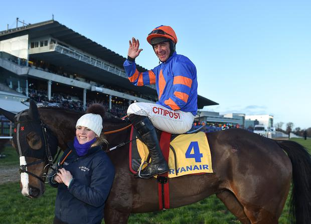 Jockey Davy Russell celebrates after winning the Ryanair Hurdle with Mick Jazz on Day 4 of the Leopardstown Christmas Festival at Leopardstown in Dublin. Photo by Seb Daly/Sportsfile