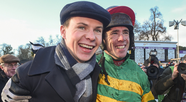 Joseph O'Brien and Derek O'Connor celebrate Edwulf's victory last Sunday