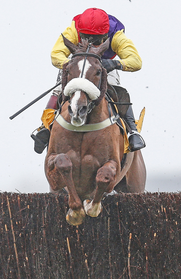 Richard Johnson riding Native River clear the last to win The Betfair Denman Steeple Chase