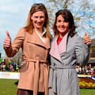 Nina Carberry and Katie Walsh yesterday. Photo: PA