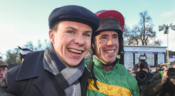 Joseph O'Brien and Derek O'Connor after Edwulf won the Irish Gold Cup at Leopardstown. Photo: Sportsfile