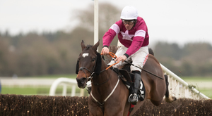 Duca De Thaix and Davy Russell on their way to victory in the BetVictor Dan Moore Memorial Handicap at Fairyhouse yesterday. Photo: Racing Post