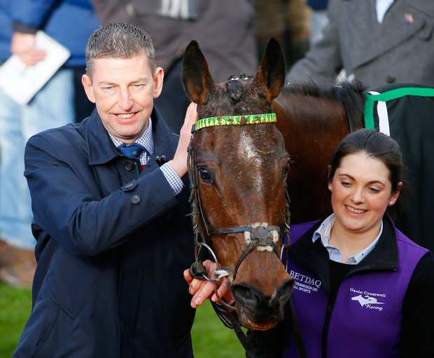 Gavin Cromwell with his Champion Hurdle winner Espoir D'Allen. Photo: Mark Cranham