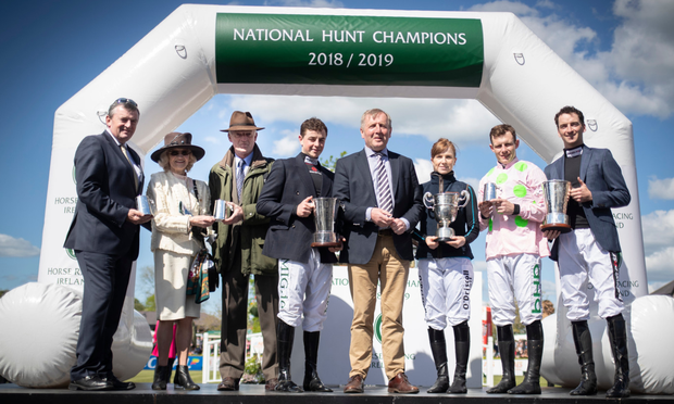 HRI Champions (l to r): Gigginstown represented by Eddie O'Leary, Willie Mullins with mother Maureen, Donnie McInerney, Presenter Michael Creed TD, Lisa O'Neill, Paul Townend and Patrick Mullins. Photo: Patrick McCann