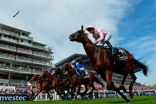 Seamie Heffernan riding Anthony Van Dyck to victory in the Investec Derby