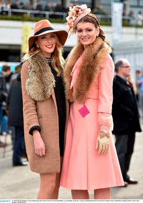 Cassie Fleming, left, and Andrea Emerson, from Enniskillen, Co. Fermanagh, at the day's racing. Photo: Matt Browne