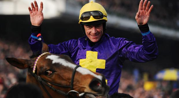 Davy Russell on Lord Windermere celebrates winning the 2014 Cheltenham Gold Cup