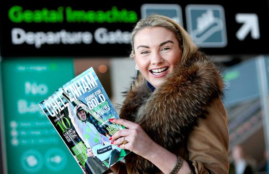 Louise Allen, from Slane, Co Meath, at Dublin Airport before flying out to Cheltenham. Photo: Gerry Mooney