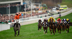 Jack Kennedy celebrates winning the Supreme Novices' Hurdle on Labaik ahead of Melon, with Ruby Walsh up, who finished second, at Cheltenham yesterday. Photo: Cody Glenn/Sportsfile