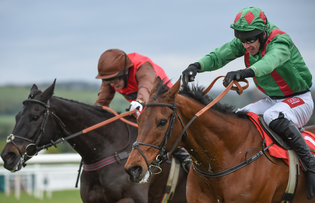 Punchestown's Champion Hunter Chase was the setting for an epic duel between Balnaslow (right) and Mendip Express, from which Balnaslow and Derek O'Connor emerged victorious by a neck.