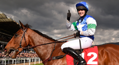 Lizzie Kelly gives the thumbs-up after landing yesterday's Ultima Handicap Chase on Coo Star Sivola. Photo: Sportsfile
