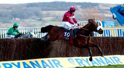 Jack Kennedy holds tight aboard Shattered Love at the final fence on their way to winning the JLT Novices' Chase at Cheltenham last year. Photo: PA