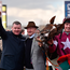 It was smiles all-round as Gordon Elliott celebrated winning the Leading Trainer Award alongside former boss Martin Pipe, with horse Blow By Blow – which secured the crown – and jockey Donagh Meyler. Photo: Sportsfile