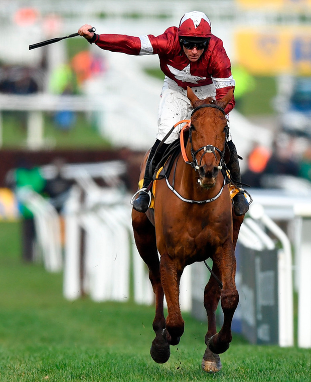 Davy Russell celebrates after winning the Ryanair Chase on Balko Des Flos. Photo: Sportsfile