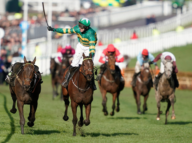 Mark Walsh celebrates on his way to winning the Champion Hurdle with Espoir D'allen. Photo: Alan Crowhurst/Getty Images