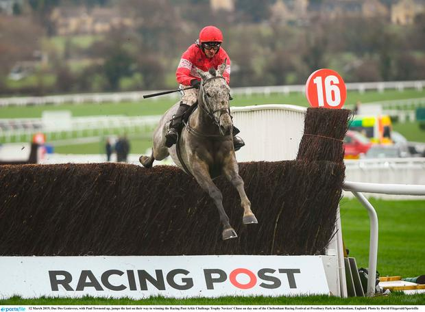 Paul Townend and Duc Des Genievres jump the last on their way to victory in yesterday's Racing Post Arkle. Photo: David Fitzgerald/Sportsfile