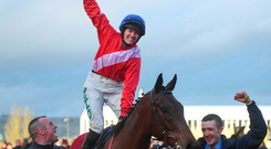 See you later: Rachael Blackmore punches the air in delight as she celebrates her stylish victory aboard A Plus Tard in the Close Brothers Chase at Cheltenham yesterday. Photo: David Fitzgerald/Sportsfile