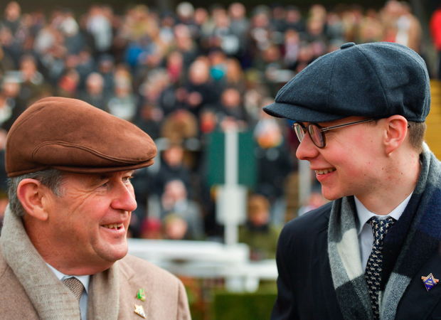 JP McManus chats with Joseph O'Brien after the latter trained Band Of Outlaws to win the Juvenile Handicap Hurdle. Photo: Sportsfile