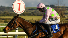 Douvan and Ruby Walsh on their way to winning the BoyleSports Tied Cottage Chase at Punchestown last month – the pair can strike again in the Queen Mother Champion Chase today. Photo: Sportsfile