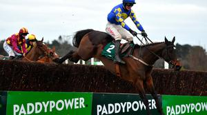 Kemboy and jockey Danny Mullins jump the last on their way to winning the Paddy Power Irish Gold Cup at Leopardstown. Photo: Seb Daly/Sportsfile
