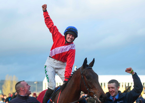 Rachael Blackmore celebrates last year's win on A Plus Tard – the pair are fancied to strike again today. Photo: Sportsfile