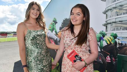 Emma Kenny and Eimear O'Duffy, both from Dublin, at the Plate Day of the Galway Races. Photo: Ray Ryan