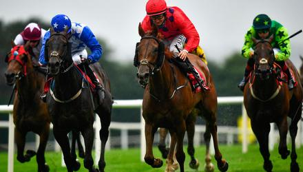 Maud Gonne Spirit, with Shane Foley up, second from right, on their way to winning the Galwaybayhotel.com handicap during day one of the Galway Races Summer Festival at Ballybrit Racecourse in Galway. Photo by David Fitzgerald/Sportsfile