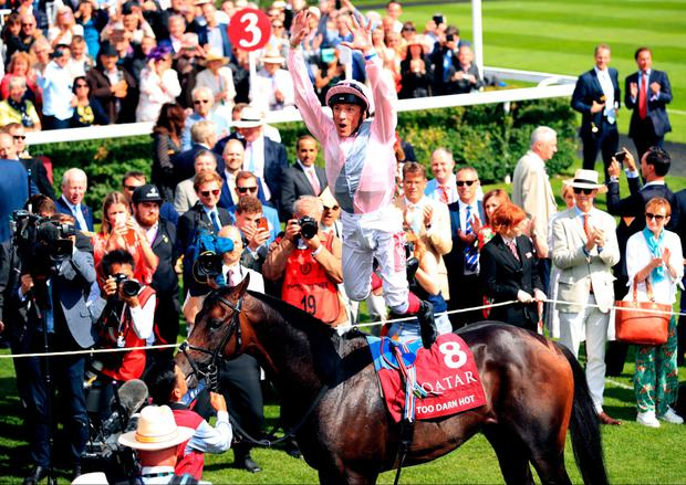 Flying dismount: Frankie Dettori celebrates his Sussex Stakes win at Goodwood aboard Too Darn Hot in trademark fashion. John Gosden's charge was one of two successful tips highlighted in this column yesterday. Photo: PA