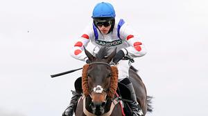Harry Cobden riding Clan Des Obeaux clear the last to win The Betway Bowl Chase at Aintree Racecourse on April 08, 2021 in Liverpool, England. Sporting venues around the UK remain under restrictions due to the Coronavirus Pandemic. Only owners are allowed to attend the meeting but the public must wait until further restrictions are lifted. (Photo by Alan Crowhurst/Getty Images)