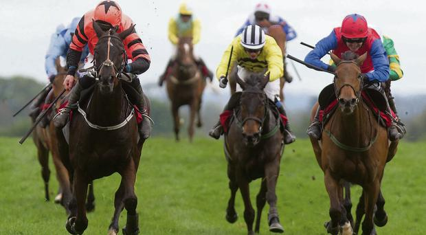 Jetson, with Davy Russell up (left), gets the better of Quevega to win the Ladbrokes World Series Hurdle. RACING POST