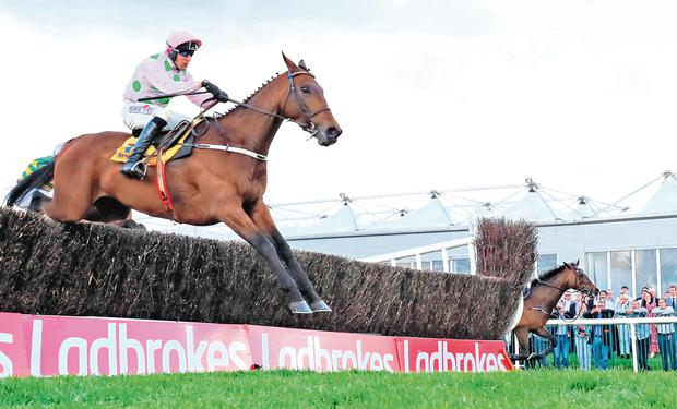 Flying Home: Chacun Pour Soi, under Robbie Power, sails over the last fence on the way to victory in the Ryanair Novice Chase at Punchestown yestarday. Photo: Niall Carson/PA