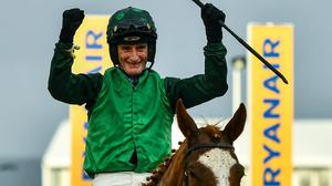 Daryl Jacob on Concertista after winning the Daylesford Mares' Novices' Hurdle on Day Three of the Cheltenham Festival in March 2020. Patrick Mullins will be in the plate today with the mare fancied for more big-race success at Punchestown. Photo: David Fitzgerald/Sportsfile