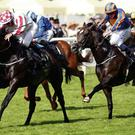 Slade Power and Wayne Lordan hold off the challenge of Due Dilligence (Ryan Moore) to claim the Diamond Jubilee Stakes