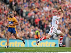Anthony Nash, Cork, shoots to score his side's second goal in the All-Ireland final