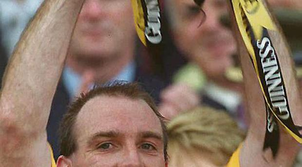 14 September 2003; Kilkenny captain DJ Carey lifts the Liam McCarthy Cup. Guinness All-Ireland Senior Hurling Championship Final, Kilkenny v Cork, Croke Park, Dublin. Picture credit; Ray McManus / SPORTSFILE