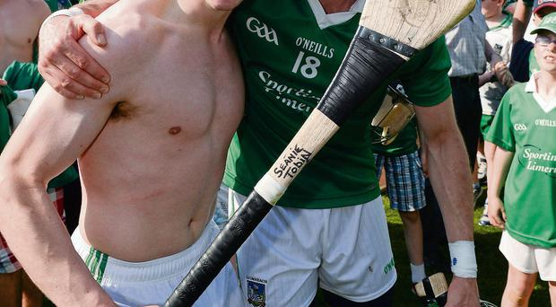 Limerick's Sean Tobin, left, and Cathal King celebrate after their victory over Tipperary which blew the Munster SHC wide open